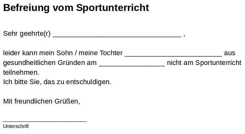 Entschuldigung Fur Den Sportunterricht Fertige Texte